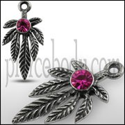 Pink Jeweled Marijuna Leaf Pendant