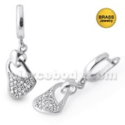 Micro Setting Jeweled Heart Earring With Rhodium Polish
