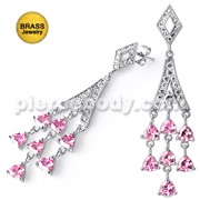 Fancy Chandelier Micro Setting CZ Stone Brass with Rhodium Platting Earring