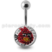 Angry Bird Crystal stone Belly Ring with steel Base