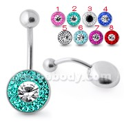 Multi Crystal Stone SS Banana Bar Belly Ring SBLY018