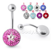 Multi Crystal Stone Banana Bar Navel Ring