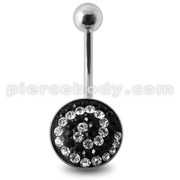 Crystal stone Belly Banana Ring with steel Base