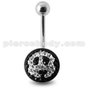 Crystal stone Jeweled Panda Face Banana Belly Ring with steel Base