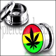 Rasta Marijuna Fancy Logo With SS Screw Fit Ear Tunnel