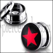 Red Star Logo SS Screw Fit Ear Tunnel