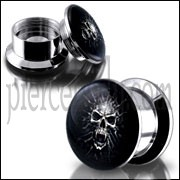 SS Internal Screw Fit Mummy Skull Logo Ear Tunnel