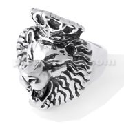 Roaring Lion with Crown Finger Ring