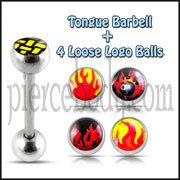 Tongue Barbell with 4 Free Flame Logo Ball