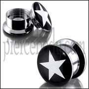 SS Internal Screw Fit With White Star Logo Ear Tunnel