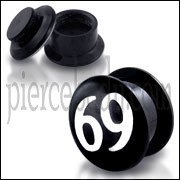 Black UV Internal #69 Logo With Screw Fit Ear Tunnel