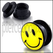 Black UV Smiley Logo With Screw Fit Ear Flesh Tunnel
