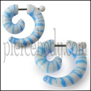 Hand Painted Blue And White Spiral Fake Ear Plug