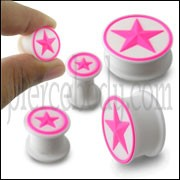 Embossed Pink Star Silicone Ear Plug