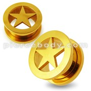 Gold Screw Fit Star Flesh Tunnel