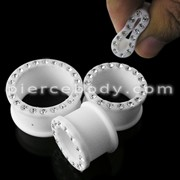 Multi Jeweled Milk White Silicone Ear Plug