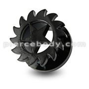 Black Star Saw Blade Screw Fit Flesh Tunnel