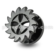 Black Irish Cross Saw Blade Screw Fit Flesh Tunnel
