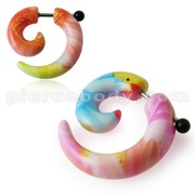 Fancy Multi Color Spiral Fake Ear Plug Stretcher