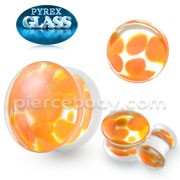 Pyrex Glass Orange Pebble Ear Tunnel Plug