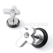 SS Jeweled Cross Fake Ear Plug