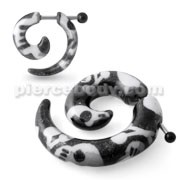 FAKE Spiral Taper Acrylic Skull Ear Cheater Plug