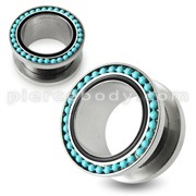 Turquoise Ball Loop Top Flesh Tunnel