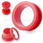 Red Neon Colored Screw Fit Ear Flesh Tunnel