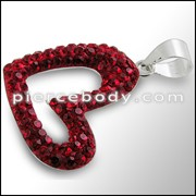 Red Crystal stone Studded Heart Silver Pendent