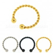 Flexible Surgical Steel Twisted Circular Fake Septum Piercing