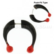 Organic Horn Fake 8 mm Horseshoe with Red Bone Ball