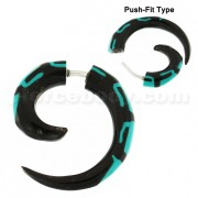 Blue Inlay Organic Horn 6 mm Spiral Fake Ear Plug
