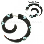 Flower Inlay Organic Horn 4 mm Spiral Fake Ear Plug
