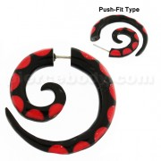 Organic Horn 8 mm Spiral with Red inlay Fake Ear Plug Gauges