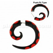 Organic Horn 6 mm Spiral with Red inlay Fake Ear Plug Gauges