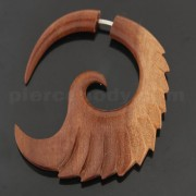 Organic Saba Wood 6 mm Feathered Spiral Fake Ear Plug