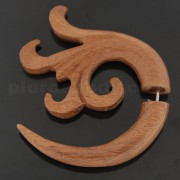 Organic Saba Wood 8 mm Floral Spiral Fake Ear Plug