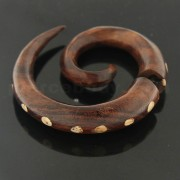 Organic Sono Wood 10 mm Spiral with Dots Fake Ear Plug
