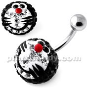 Multi Crystal stone Black Doraemon Navel Ring
