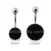 Tiny Black Pearl balls Navel Bar