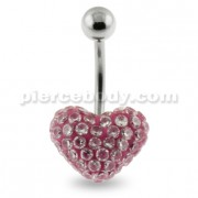 Multi Jeweled Genuine CZ in Pink Heart belly button ring
