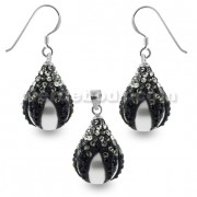 Black and White Crystals Dragon Claw Setting over Synthetic Pearl 925 Sterling Silver Set Jewelry