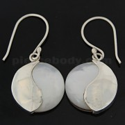 925 Sterling Silver Ying Yang with Shell Ear Ring