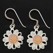 925 Sterling Silver Synthetic Pink Opal in Flower Hook Ear Ring