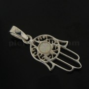 925 Sterling Silver Hand of Fatima with White Opal Pendant