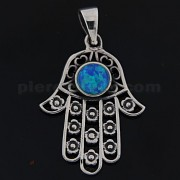 925 Sterling Silver Hand of Fatima with Flowers and Dark Blue Opal Pendant