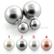 Trendy Double Faced Pearl Stud Earring