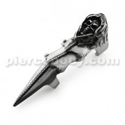 Full Finger Pewter Reaper Skull Armor Ring