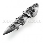 Full Finger Pewter Carved Irish Cross Armor Ring