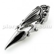 Full Finger Pewter Alien Head Armor Ring